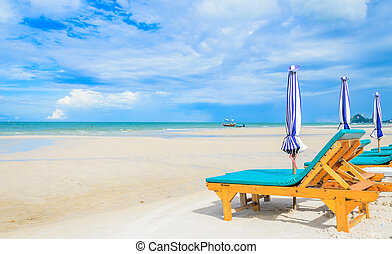 Bed on the beautiful beach on the bluesky in Thailand