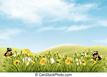 Beautiful nature landscape background with flowers and butterflies. Vector.