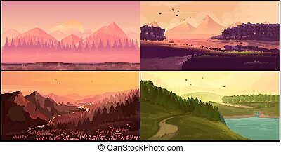 Nature landscape, vector set