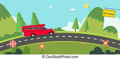 Beautiful nature landscape with bon voyage sign and hills background. Red car on road with Green Hills and blue sky. Vintage car thailand on street with natural scene. Vector illustration