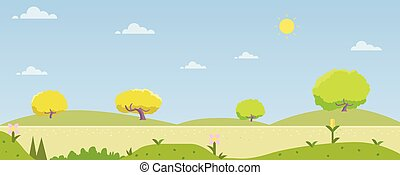 Beautiful nature landscape with hill and sky background. Spring season with nature.