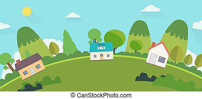 Beautiful nature landscape with houses and hills background. Home with Green Hills and blue sky .World view nature landscape with house and sky background