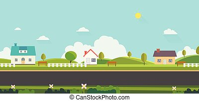 Beautiful nature landscape with houses, bench and fences background. Home with Green Hills and blue sky. Public park with nature and street. Vector illustration. Rural scene with home on street