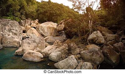 Beautiful nature near Ba Ho Waterfall. Vietnam. Nha Trang. Full HD footage