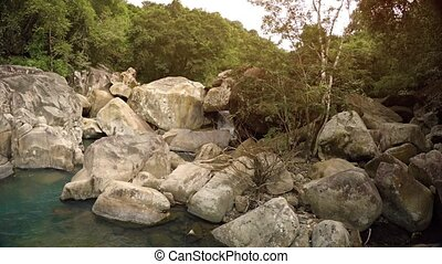 Beautiful nature near Ba Ho Waterfall. Vietnam. Nha Trang. UltraHD footage