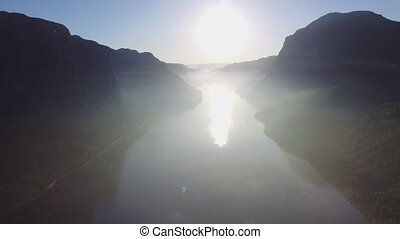 Beautiful Nature Norway natural landscape. Aerial footage...