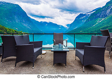 Cafe on the nature background lovatnet lake.