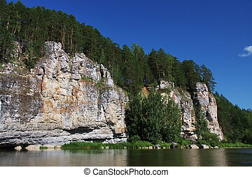 beautiful nature of the Ural River Chusovaya in the Perm ...