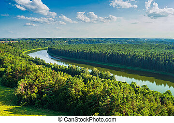 Beautiful Nature View From Observation Tower. Lithuania