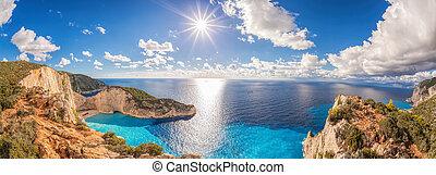 Beautiful Navagio beach with shipwreck on Zakynthos island in Greece