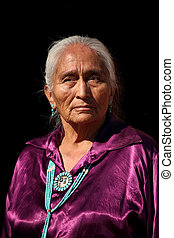 Navajo Elder Wearing Handmade Traditional Turquoise Jewelry...