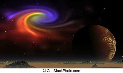 Beautiful Nebula and Alien Planet