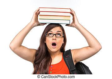 beautiful nerd girl student wearing glasses. girl holding...