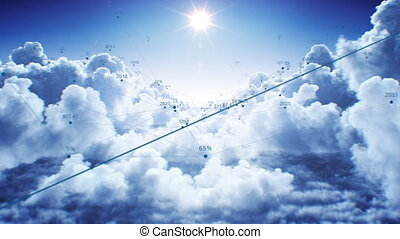 Beautiful Network Grid in Cloudscape Flying Through Under the Bright Sun Seamless. Cloud Computing Technological Concept with Abstract Numbers Looped 3d Animation. 4k UHD 3840x2160