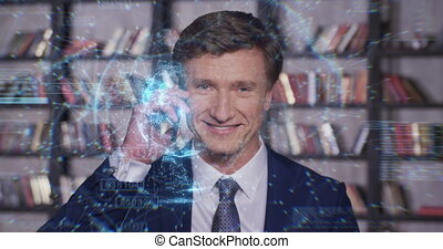 Beautiful Network Hologram Slow Motion Portrait Successful Businessman Working. Futuristic Technological Blue Holographic Data. Business Concept. Businessman Series 4K UHD 4096x2160 3d animation.