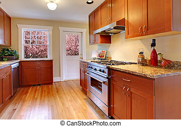 Beautiful new cherry kitchen with hardwood