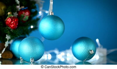beautiful new year toys on an abstract blue background
