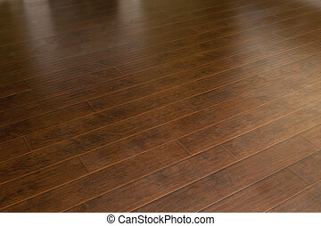 Beautiful Newly Installed Brown Laminate Flooring in Home.