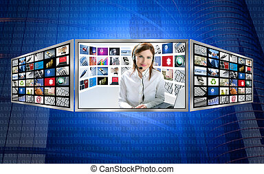 Beautiful news tv redhead woman on 3d display multi monitor