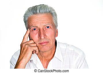 older man on a white - beautiful nice older man on a white