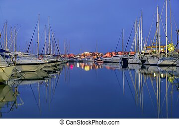 Beautiful night blue marina in Mediterranean sea - Beautiful...