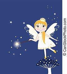 Beautiful night fairy girl vector background