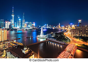 beautiful night scene in shanghai - night scene in shanghai,...