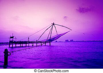 beautiful night scene of Kochi chinese fishnets, Kerala. Fort Kochin, Kochi, Kerala, south India