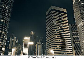 Beautiful night scenes of skyscrapers in Hong Kong.
