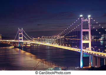 Beautiful night scenes of Tsing Ma Bridge in Hong Kong.