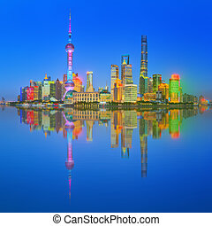 Beautiful night Shanghai's cityscape with the city lights on...