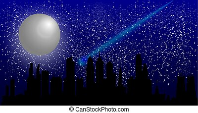 Beautiful night sky with a full moon and a meteorite flying over a city at night.