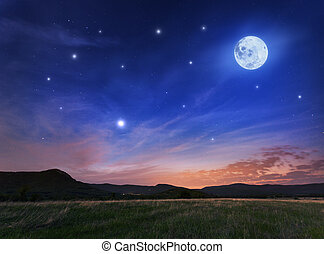 Beautiful night sky with the full moon and stars