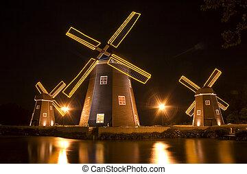 "Beautiful night view in South Korea,""Jeju"" Island, Windmill"