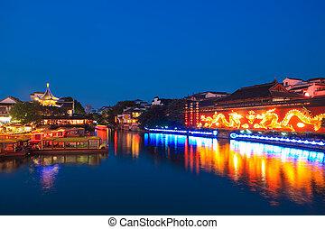 beautiful night view of nanjing confucius temple,China