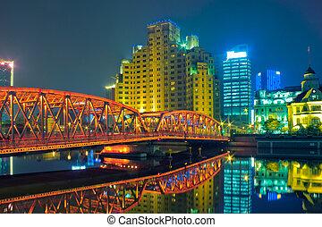 shanghai - beautiful night view of shanghai skyline