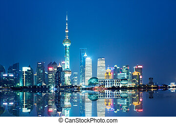 shanghai - beautiful night view of shanghai skyline