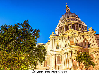 Beautiful night view of St Paul Cathedral, London