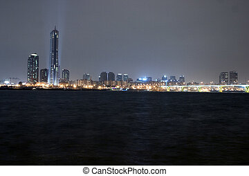 Beautiful night view of the Han River in Seoul International...