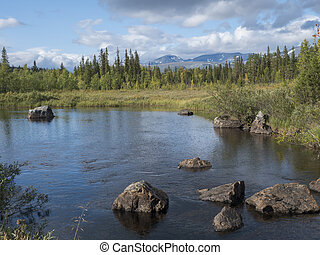Beautiful northern landscape with river basin of Kamajokk, boulders, mountain peaks and spruce tree forest in Kvikkjokk in Swedish Lapland. Summer sunny day, dramatic clouds.