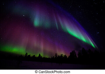 Northern lights - Beautiful Northern lights in Lapland of...
