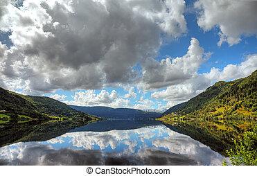Beautiful norwegian lake with reflection of dramatic sky, scandinavian Europe.
