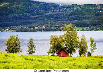 Beautiful Norwegian landscape with a house