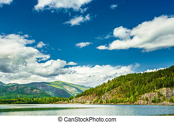 Beautiful Norwegian Nature Fjord. Summer Landscape With Mountain