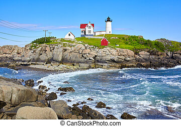 Beautiful Nubble Lighthouse in Maine State on the east coast of USA