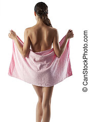 beautiful nude woman with pink towel - young brunette...