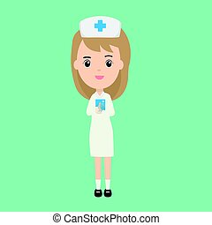Beautiful nurse character and patient book