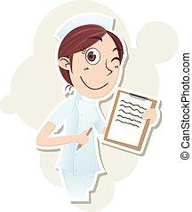 beautiful nurse with  clipboard
