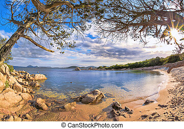 Sardinia coast with famous part of Costa Smeralda with amazing beaches in Italy