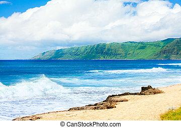 Beautiful ocean coastline of Hawaii, waves crashing on beach